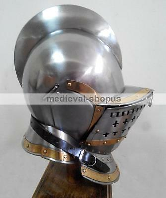 Burgonet Medieval Armour Brass Bidding Knight Ancient Larp Sca Armor New Helmet