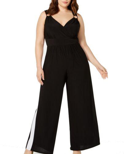 Love Squared Women/'s Jumpsuit Black Size 3X Plus Surplice Hardware $59 #169