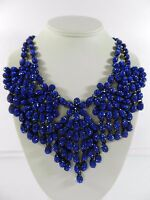 M. Haskell Necklace Blue Statement Caviar Stone Pave Flower Fashion Jewelry