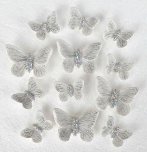 Gâteau de Mariage Toppers 12 Comestible Papillon Gâteau Décorations en blanc et argent