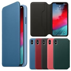 sports shoes 9c670 97495 Details about Original Leather Folio Case Flip Wallet Phone Cover for Apple  iPhone X XR XS Max