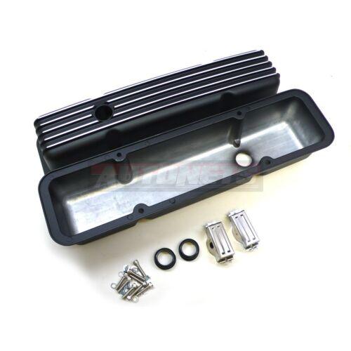 SBC Small Block Chevy Nostalgic Finned Black Aluminum Tall Valve Cover Retro 350