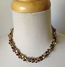 Vintage Signed 1950's TRIFARI Red Aurora Borealis Rhinestones Choker Necklace