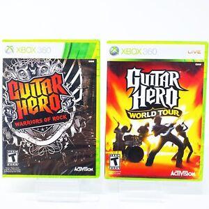 Guitar-Hero-Warriors-of-Rock-amp-World-Tour-Xbox-360-Game-Lot-Set-Bundle-Of-2