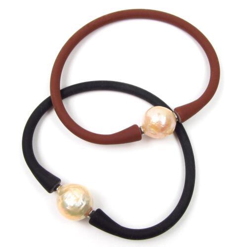 "7.5/"" Genuine Baroque Pink Pearl Stretchable /& Flexible Bangle Bracelet"
