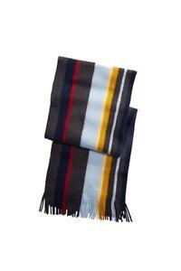 Alfani Mens Scarves Blue Gray One Size Striped Fringed-Trim Scarf $40 210