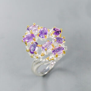 Amethyst Ring 925 Sterling Silver Size 9 /RT19-0307