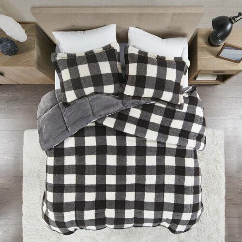 Classic Cabin Black Ivory Buffalo Check Down Alt King Queen 3 Comforter Set