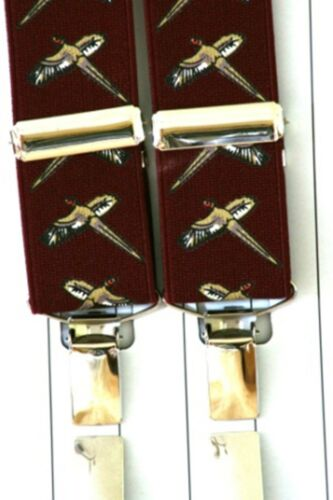 Pheasant  trouser wine  Braces Mens Game Keeper  Beaters Gift Boxed Burgandy