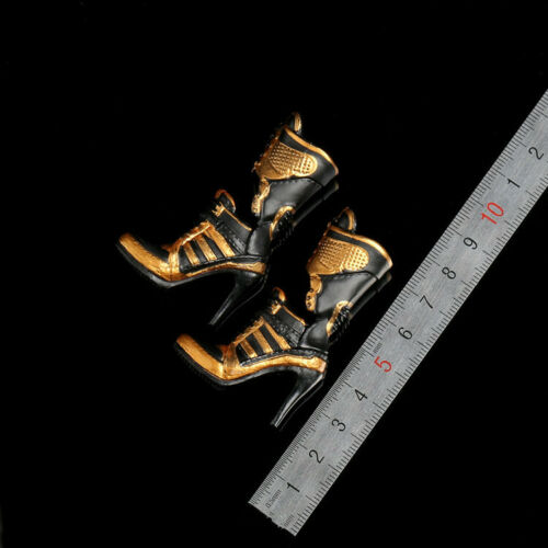 "1//6 Scale Girl Golden Motorcycle Heels Boots For 12/"" Harley Quinn PHICEN Figure"