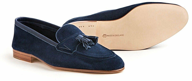 nuova esclusiva di fascia alta EDWARD verde Navy blu Suede Loafer scarpe 8.5 9 (Last (Last (Last E389)  Made in England  risparmia fino al 50%