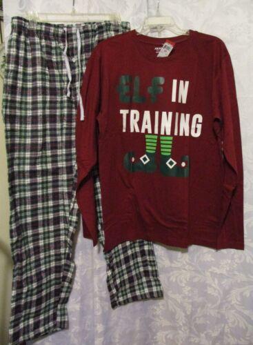 NWT size L//S Top w Plaid Pants Elf In Training Joe Boxer Mens Pajama Set