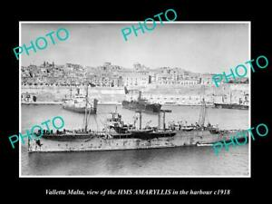 OLD-POSTCARD-SIZE-PHOTO-VALLETTA-MALTA-BRITISH-SHIP-HMS-AMARYLLIS-c1918-WWI