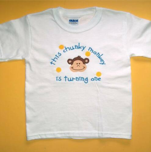 Personalized Boy or Girl MOD MONKEY Chunky Monkey Face Name or Birthday T Shirt