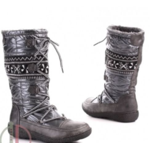 NEW WOMENS SNOW BOOTS GREY  FLEECY LINED WARM NORDIC KNIT  PULL ON SIZES 3-8