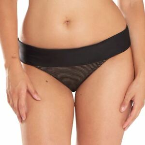 d2ef150491 Curvy Kate Swimwear Onyx Fold Over Bikini Brief Bottoms Black Stripe ...