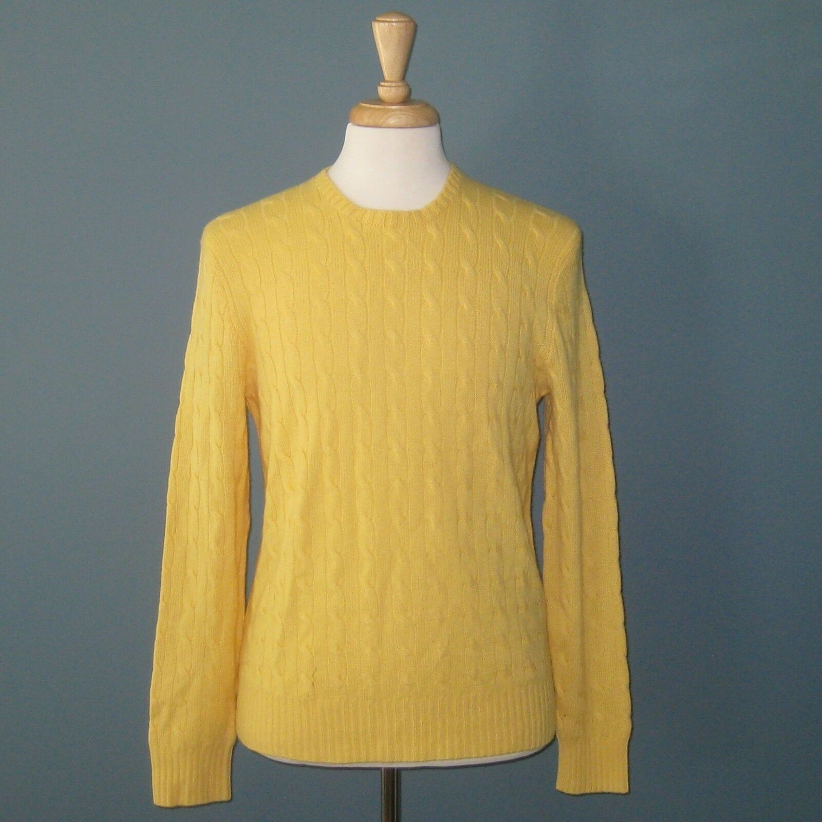 NWT Polo Ralph Lauren Yellow 100% Cashmere Cable Knit L S Sweater -- L