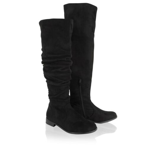 Womens Ladies Over The Knee High Long Riding Boots Low Heel Black Winter Shoes
