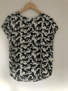 Womens-Top-Size-10-Cream-Navy-Horses-Repeat-pattern-H-amp-M-lt-Z1285
