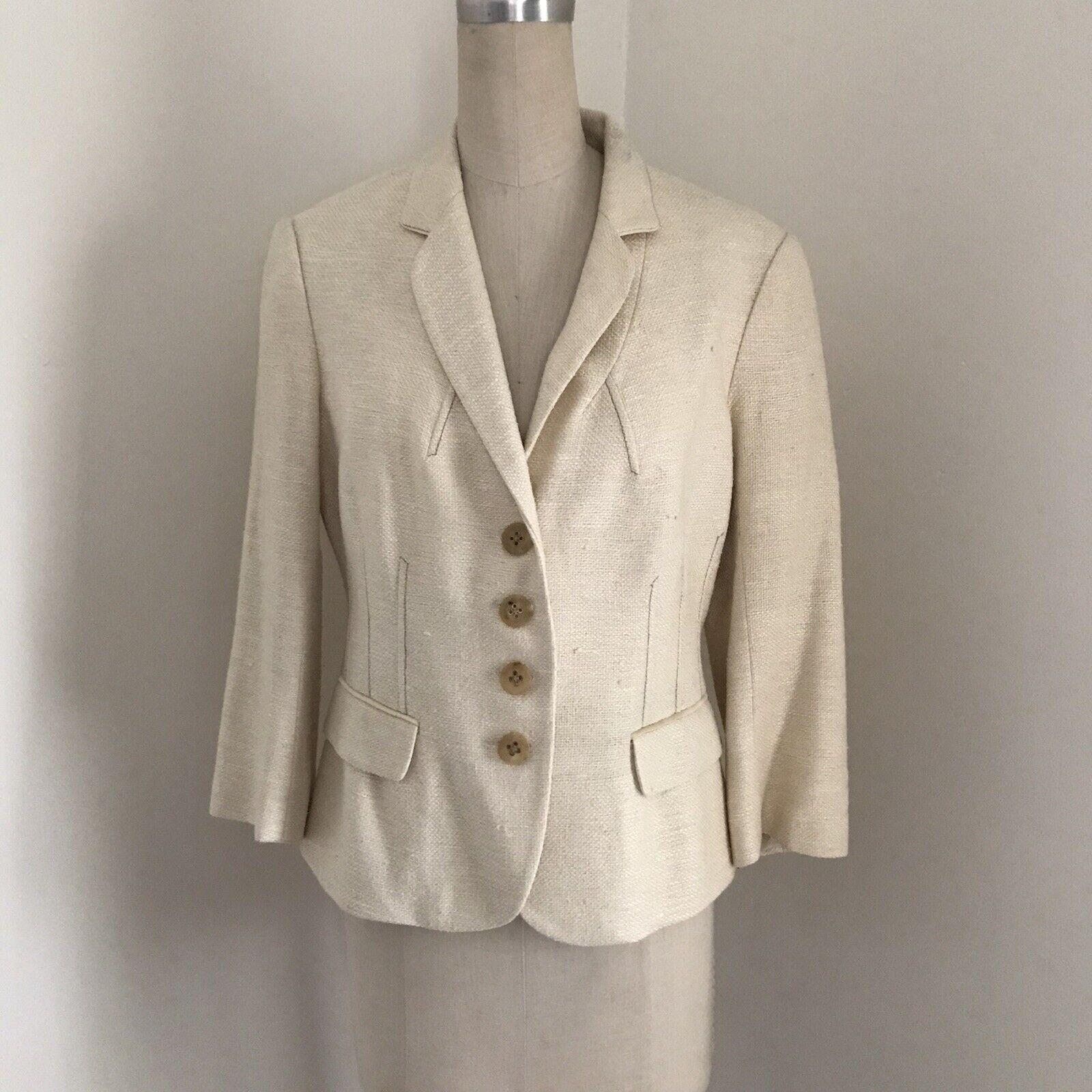 Badgley Mischka Women's Jacket Ivory Textured Woven 3/4 Sleeve 8