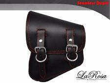2007-2017 La Rosa Black Leather Red Stitch Harley Night Rod Left Solo Saddle Bag