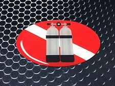"Diver Down Double Tank Domed Decal Deep Diving Emblem Car Sticker 3D 3.25""x 2"""