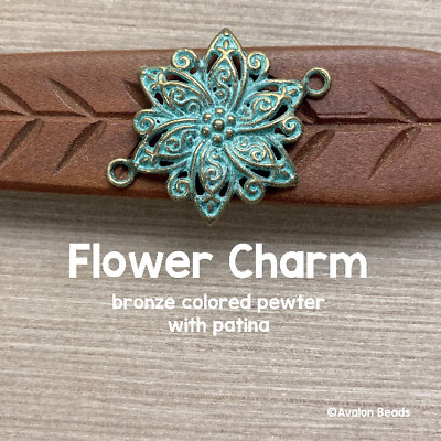 Flower Charm With Patina 28x39mm 10 Pieces Bronze Colored Pewter
