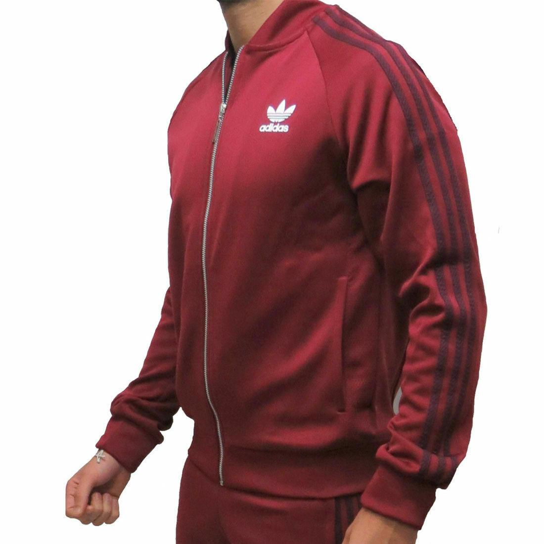 Adidas Originals da Uomo Sst Mesh Giacca Tuta Superstar con Zip - Burgundy