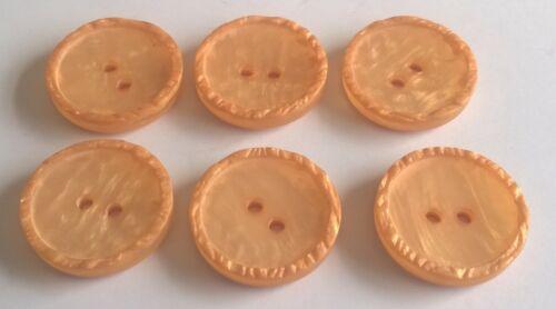 E7504 6 x 22mm Light Orange Plastic Buttons