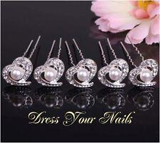 Hair Pin Hair Accessory Cech Crystal & Alloy Hearts Hairpin x 5- uk  HP-0084