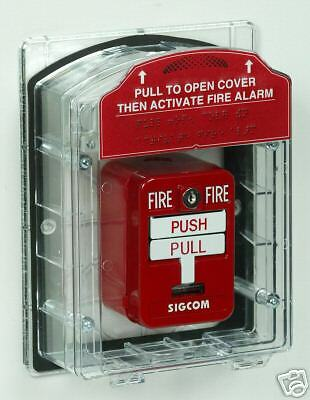 Fire alarm pull station cover modular has options for horn /& WP STI-1200 1100