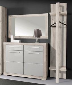garderobe 3 tlg set schuhschrank kommode spiegel paneel sandeiche weiss neu ebay. Black Bedroom Furniture Sets. Home Design Ideas