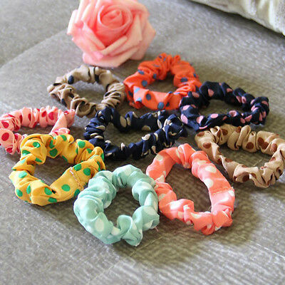 10pcs Women Girls Elastic Polka Dot Hair Band Rope Scrunchie Ponytail Holder
