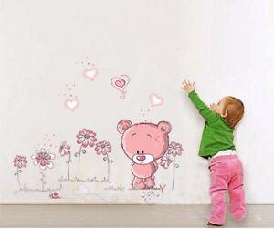 Wandtattoo-Wannsticker-Wandaufkleber-Kinderzimmer-Teddy-Blumen-90-x-100-W204