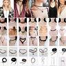 Vintage Choker Charm Necklace Hippy Chocker PU Leather Retro Black Leather Cords