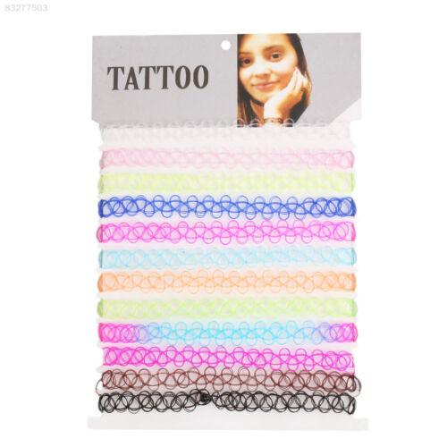 4681 Girl Gothic Tattoo Fish Line Choker Necklace Set Color Plastic Elastic 1444