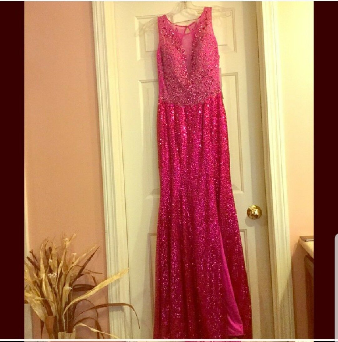 Beautiful Xtreme lashes magenta Sequence  Gown