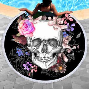 Skull-Round-Beach-Towel-Floral-Tassel-Tapestry-3D-Digital-Printing-Yoga-Mat-59-034