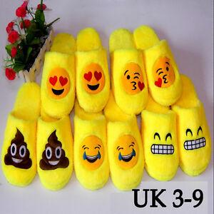 Unisex Emoji Cute Cartoon Slippers Warm Cozy Soft Stuffed ...