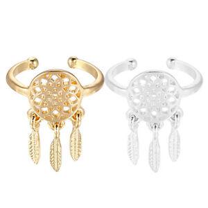 Women-039-s-Dreamcatcher-Ring-Feather-Charm-Pendant-Dream-Catcher-Wish-Ring-Vintage