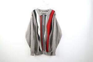 VTG-90s-COOGI-Stil-Herren-3xl-ED-BASSMASTER-Multicolor-Pulli-Pullover-Acryl