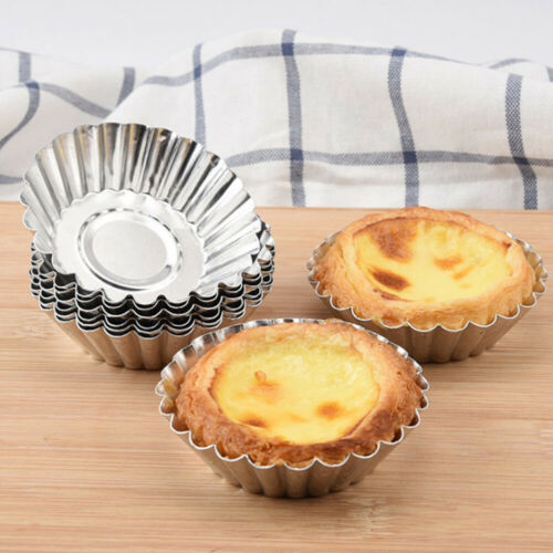 10PCS Egg Tart Aluminum Cupcake Cake Cookie Lined Mold Mould Tin Baking Tool Hot