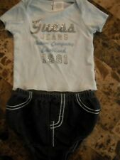 baby boys 2 PIECE GUESS JEANS OUTFIT set BLUE DENIM BOTTOMS nice! 0-3 MONTHS