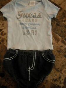 a275b07f1d baby boys 2 PIECE GUESS JEANS OUTFIT set BLUE DENIM BOTTOMS nice! 0 ...