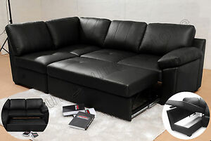 Details about Alonza Leather Corner Sofa Bed L Shape & Storage Black Brown  Corner Sofas Group
