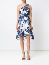MARCHESA NOTTE Embroided Flowers Blue White Cocktail Dress *Size 12*