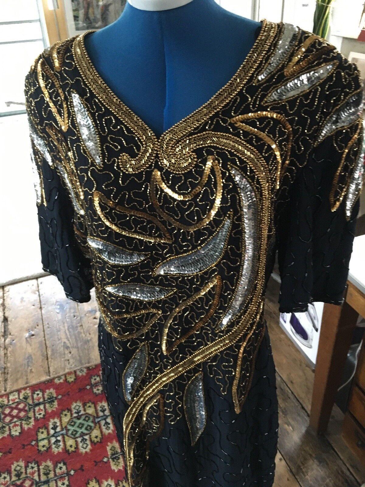 STUNNING RETRO PARTY COCKTAIL schwarz HEAVILY  SEQUINED Größe 14 DRESS 1980 90s