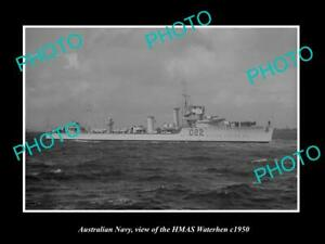 OLD-8x6-HISTORIC-PHOTO-OF-AUSTRALIAN-NAVY-SHIP-HMAS-WATERHEN-c1950