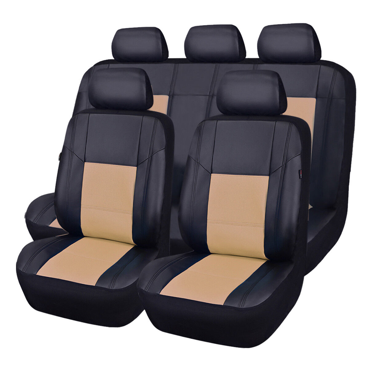 LJ 11PCS, Black and Red for suvs,Van,Trucks,Airbag Compatible,Inside Zipper Design and Reserved Opening Holes CAR PASS Universal FIT Piping Leather Car Seat Cover