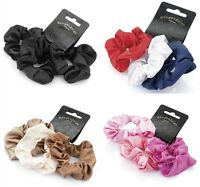 Set of 3 Satin Feel Hair Scrunchies Bobbles Hair Bands Elastics Hair Scrunchy